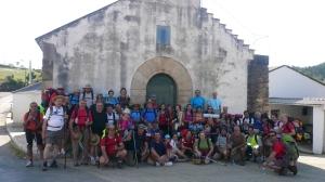 Los peregrinos de 2013 en el bocadillo de la primera etapa.